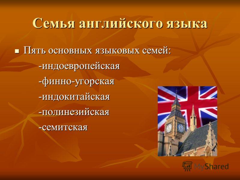 Семья английского языка Пять основных языковых семей: Пять основных языковых семей: -индоевропейская -индоевропейская -финно-угорская -финно-угорская -индокитайская -индокитайская -полинезийская -полинезийская -семитская -семитская