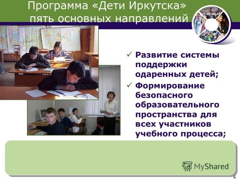 4 Развитие системы поддержки одаренных детей; Формирование безопасного образовательного пространства для всех участников учебного процесса; Программа «Дети Иркутска» пять основных направлений