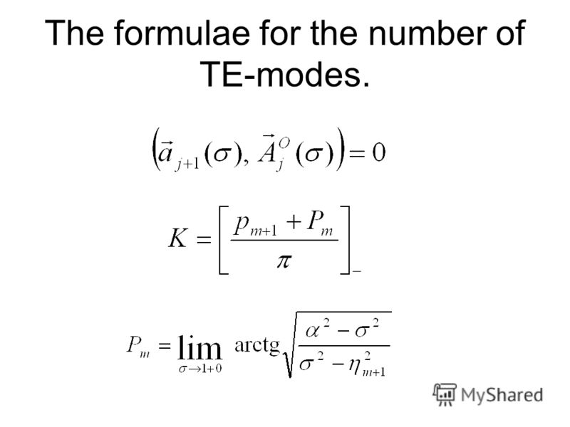 The formulae for the number of TE-modes.