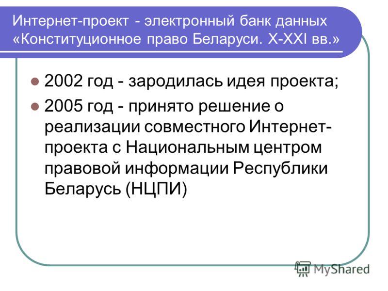 Интернет-проект - электронный банк данных «Конституционное право Беларуси. X-XXI вв.» 2002 год - зародилась идея проекта; 2005 год - принято решение о реализации совместного Интернет- проекта с Национальным центром правовой информации Республики Бела