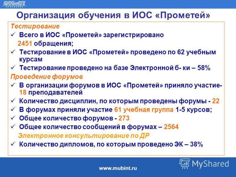 www.mubint.ru Организация обучения в ИОС «Прометей» Тестирование Всего в ИОС «Прометей» зарегистрировано 2451 обращения; Тестирование в ИОС «Прометей» проведено по 62 учебным курсам Тестирование проведено на базе Электронной б- ки – 58% Проведение фо