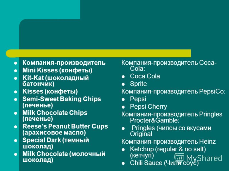 Компания-производитель Mini Kisses (конфеты) Kit-Kat (шоколадный батончик) Kisses (конфеты) Semi-Sweet Baking Chips (печенье) Milk Chocolate Chips (печенье) Reeses Peanut Butter Cups (арахисовое масло) Special Dark (темный шоколад) Milk Chocolate (мо