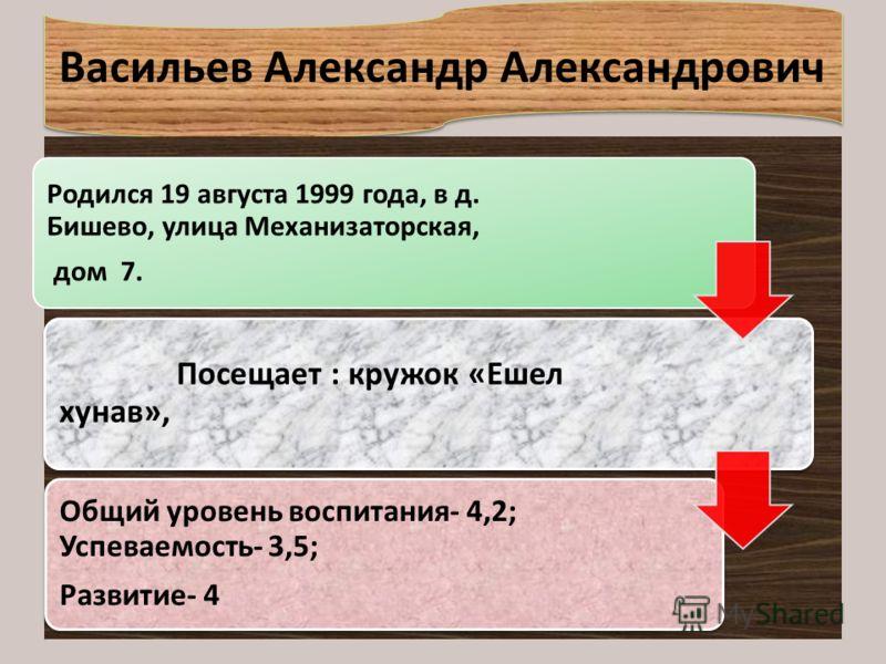 Васильев Александр Александрович Родился 19 августа 1999 года, в д. Бишево, улица Механизаторская, дом 7. Посещает : кружок « Ешел хунав », Общий уровень воспитания - 4,2; Успеваемость - 3,5; Развитие - 4