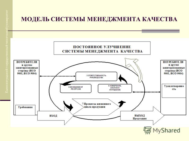 МОДЕЛЬ СИСТЕМЫ МЕНЕДЖМЕНТА КАЧЕСТВА Калининградский государственный технический университет