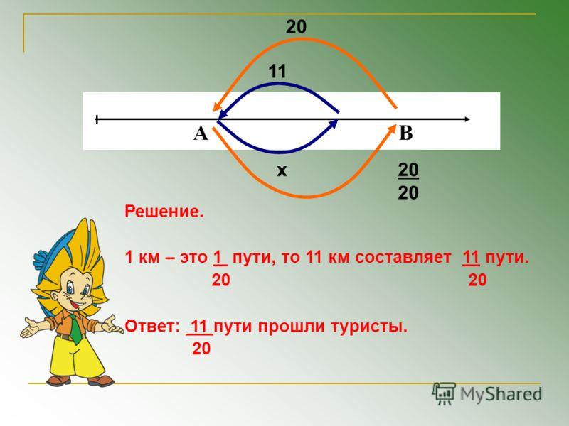 А В 20 11 х Решение. 1 км – это 1 пути, то 11 км составляет 11 пути. 20 20 Ответ: 11 пути прошли туристы. 20