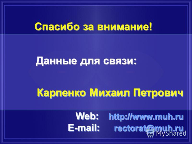 Спасибо за внимание! Данные для связи: Карпенко Михаил Петрович Web: http://www.muh.ru E-mail: rectorat@muh.ru Карпенко Михаил Петрович Web: http://www.muh.ru E-mail: rectorat@muh.ru