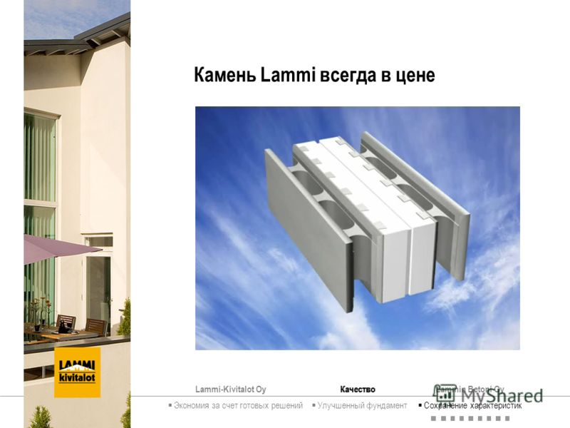 Lammi-Kivitalot OyКачествоLammin Betoni Oy Камень Lammi всегда в цене Экономия за счет готовых решений Улучшенный фундамент Сохранение характеристик Качество