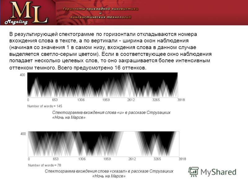 В результирующей спектограмме по горизонтали откладываются номера вхождения слова в тексте, а по вертикали - ширина окон наблюдения (начиная со значения 1 в самом низу, вхождения слова в данном случае выделяется светло-серым цветом). Если в соответст