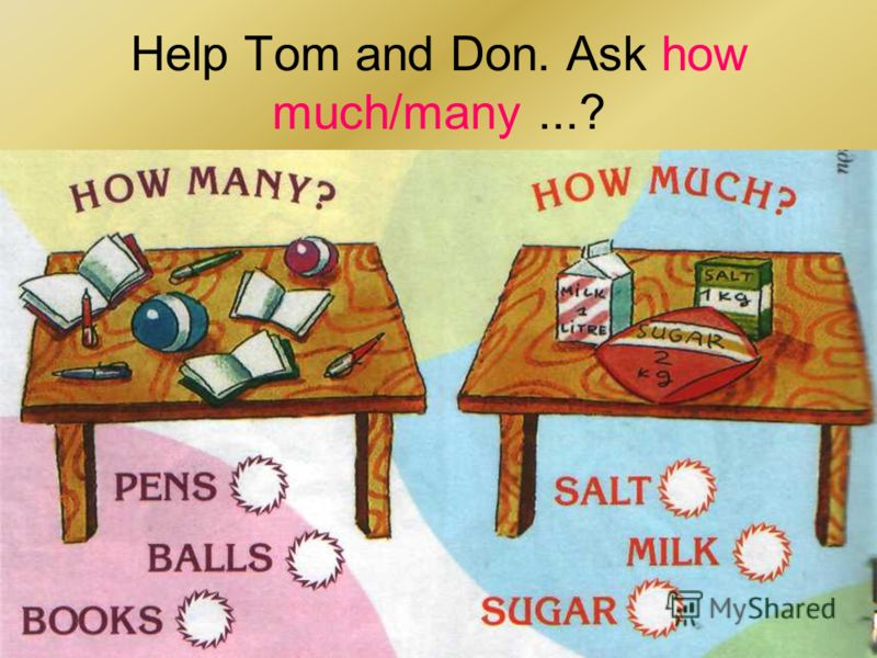 Help Tom and Don. Ask how much/many...?