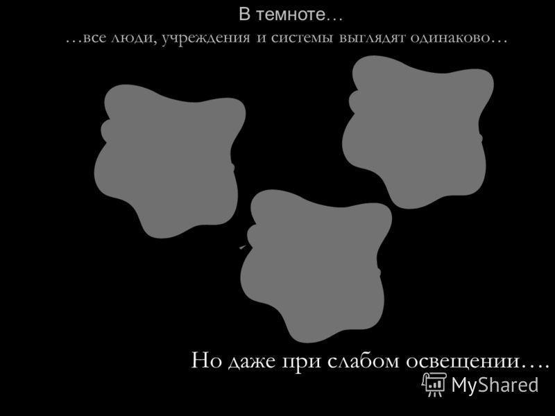 В темноте … …все люди, учреждения и системы выглядят одинаково… Но даже при слабом освещении….