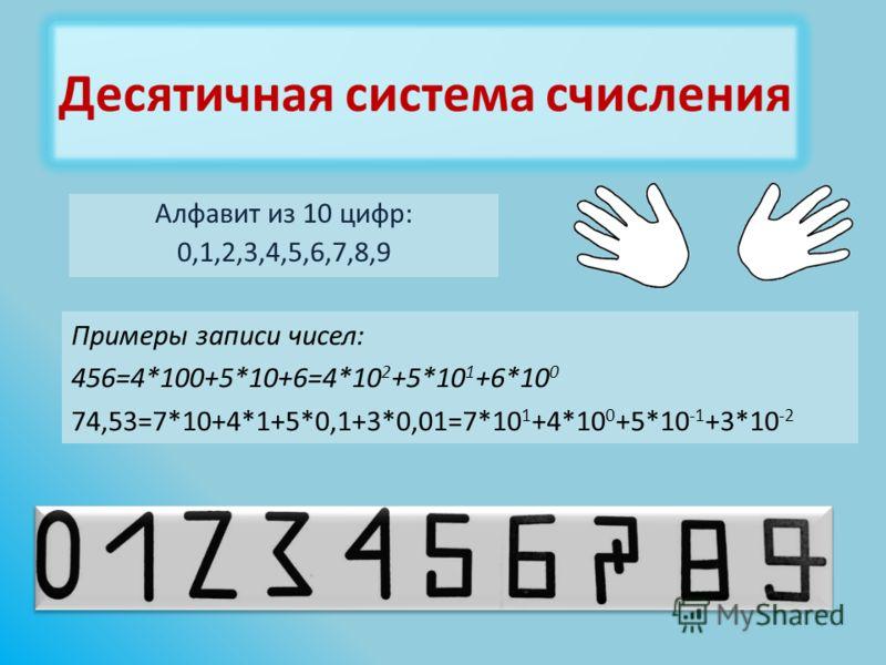 Алфавит из 10 цифр: 0,1,2,3,4,5,6,7,8,9 Примеры записи чисел: 456=4*100+5*10+6=4*10 2 +5*10 1 +6*10 0 74,53=7*10+4*1+5*0,1+3*0,01=7*10 1 +4*10 0 +5*10 -1 +3*10 -2