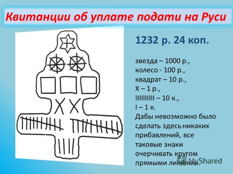 1232 р. 24 коп. звезда – 1000 р., колесо - 100 р., квадрат – 10 р., Х – 1 р., IIIIIIIIII – 10 к., I – 1 к. Дабы невозможно было сделать здесь никаких прибавлений, все таковые знаки очерчивать кругом прямыми линиями.