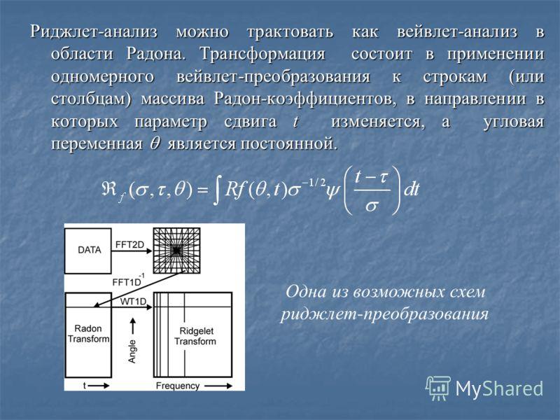 Риджлет-анализ можно трактовать как вейвлет-анализ в области Радона. Tрансформация состоит в применении одномерного вейвлет-преобразования к строкам (или столбцам) массива Радон-коэффициентов, в направлении в которых параметр сдвига t изменяется, а у