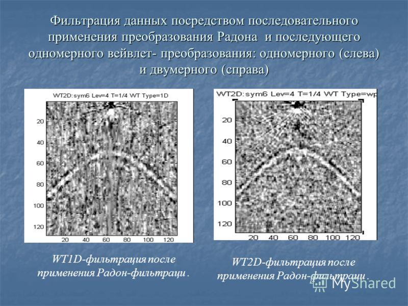 Фильтрация данных посредством последовательного применения преобразования Радона и последующего одномерного вейвлет- преобразования: одномерного (слева) и двумерного (справа) WT1D-фильтрация после применения Радон-фильтраци. WT2D-фильтрация после при