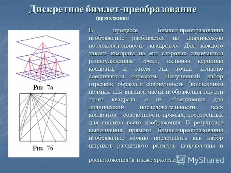 В процессе бимлет-преобразования изображение разбивается на диадическую последовательность квадратов. Для каждого такого квадрата на его сторонах отмечаются равноудаленные точки, включая вершины квадрата, и затем эти точки попарно соединяются отрезко