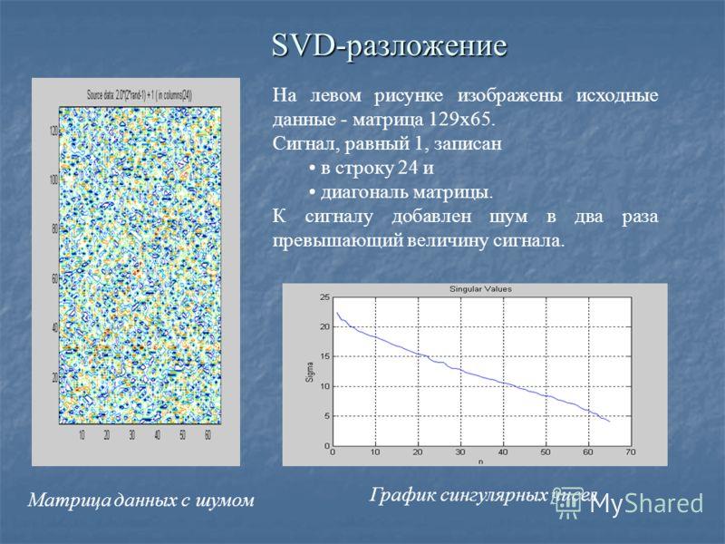 SVD-разложение На левом рисунке изображены исходные данные - матрица 129х65. Сигнал, равный 1, записан в строку 24 и диагональ матрицы. К сигналу добавлен шум в два раза превышающий величину сигнала. График сингулярных чисел Матрица данных с шумом
