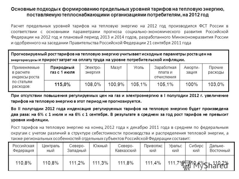 Основные подходы к формированию предельных уровней тарифов на тепловую энергию, поставляемую теплоснабжающими организациями потребителям, на 2012 год Расчет предельных уровней тарифов на тепловую энергию на 2012 год производился ФСТ России в соответс