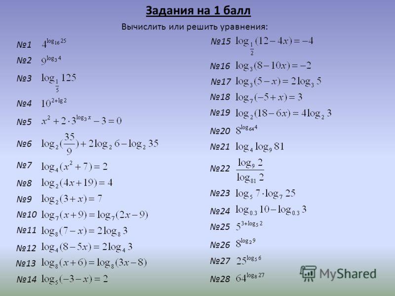 Задания на 1 балл Вычислить или решить уравнения: 1 3 2 14 13 12 11 10 9 8 7 6 5 4 28 27 26 25 24 23 22 21 20 19 18 15 17 16