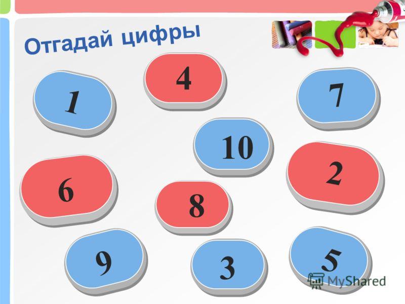 Отгадай цифры 1 2 3 4 5 6 7 8 9 10