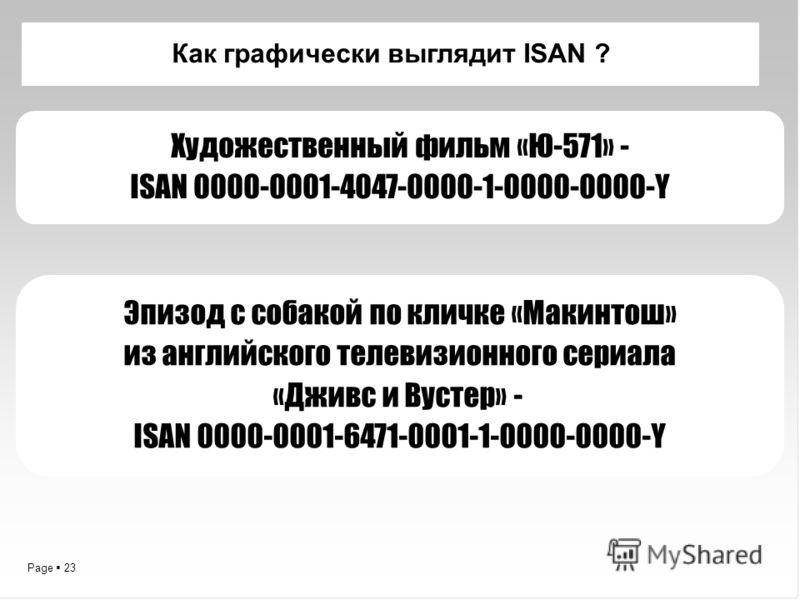 Page 23 Как графически выглядит ISAN ? Художественный фильм «Ю-571» - ISAN 0000-0001-4047-0000-1-0000-0000-Y Эпизод с собакой по кличке «Макинтош» из английского телевизионного сериала «Дживс и Вустер» - ISAN 0000-0001-6471-0001-1-0000-0000-Y