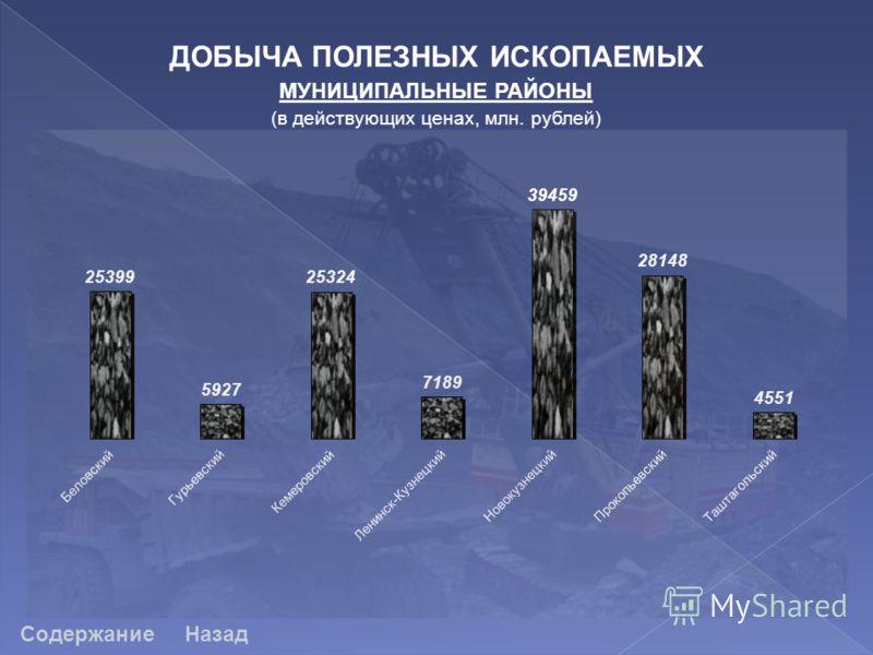ДОБЫЧА ПОЛЕЗНЫХ ИСКОПАЕМЫХ МУНИЦИПАЛЬНЫЕ РАЙОНЫ (в действующих ценах, млн. рублей) СодержаниеНазад