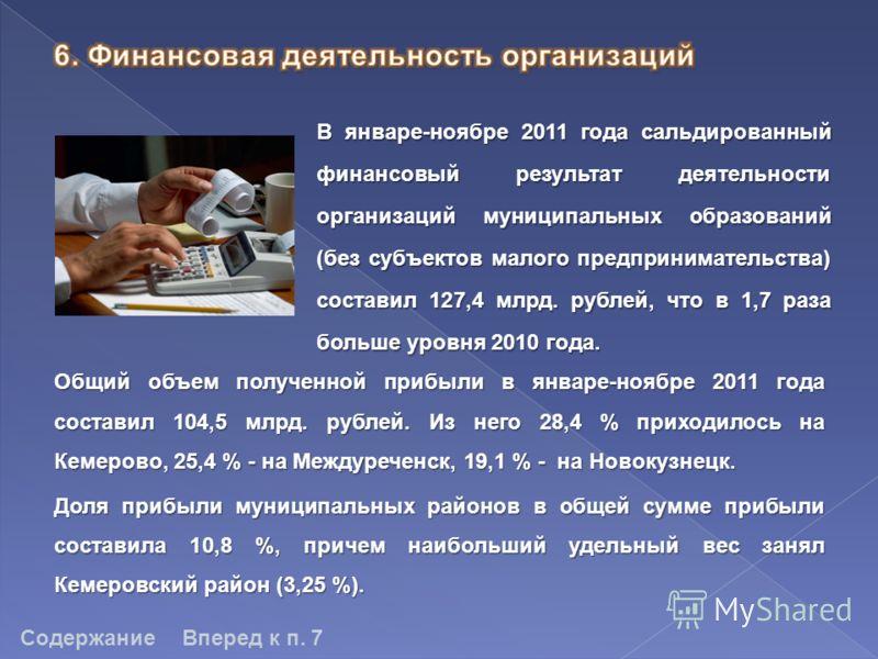 В январе-ноябре 2011 года сальдированный финансовый результат деятельности организаций муниципальных образований (без субъектов малого предпринимательства) составил 127,4 млрд. рублей, что в 1,7 раза больше уровня 2010 года. СодержаниеВперед к п. 7 О