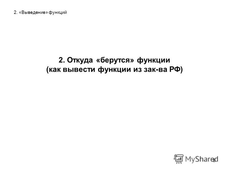 8 2. «Выведение» функций 2. Откуда «берутся» функции (как вывести функции из зак-ва РФ)