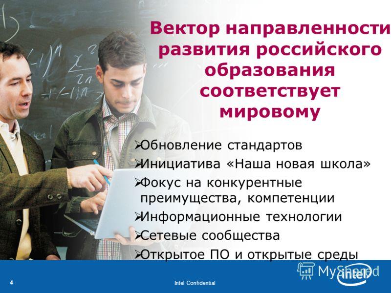 Intel Confidential 44 Вектор направленности развития российского образования соответствует мировому Обновление стандартов Инициатива «Наша новая школа» Фокус на конкурентные преимущества, компетенции Информационные технологии Сетевые сообщества Откры