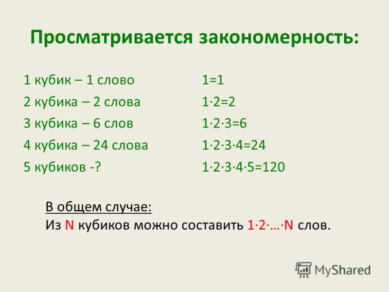 Просматривается закономерность: 1 кубик – 1 слово 2 кубика – 2 слова 3 кубика – 6 слов 4 кубика – 24 слова 5 кубиков -? 1=1 1·2=2 1·2·3=6 1·2·3·4=24 1·2·3·4·5=120 В общем случае: Из N кубиков можно составить 1·2·…·N слов.