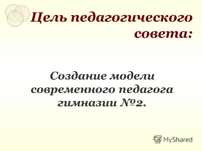 Цель педагогического совета: Создание модели современного педагога гимназии 2.