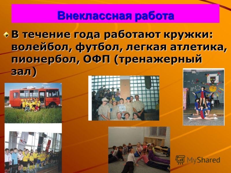 Внеклассная работа В течение года работают кружки: волейбол, футбол, легкая атлетика, пионербол, ОФП (тренажерный зал)