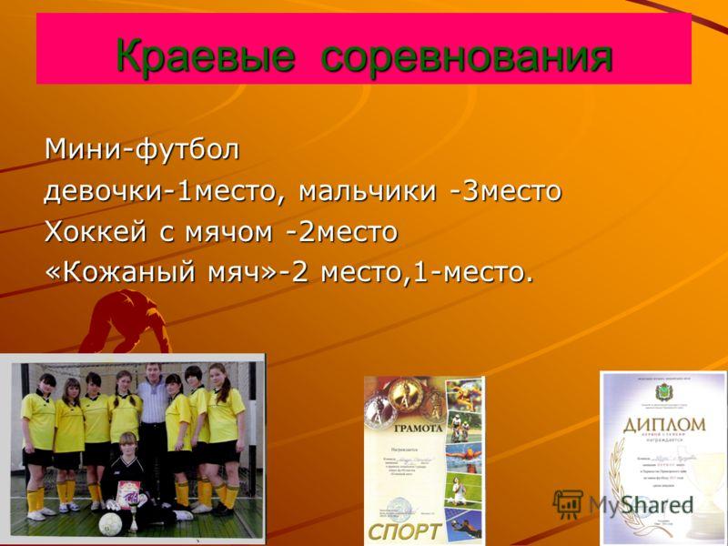 Краевые соревнования Мини-футбол девочки-1место, мальчики -3место Хоккей с мячом -2место «Кожаный мяч»-2 место,1-место.