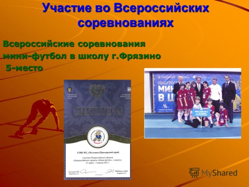 Участие во Всероссийских соревнованиях Всероссийские соревнования мини-футбол в школу г.Фрязино 5-место 5-место