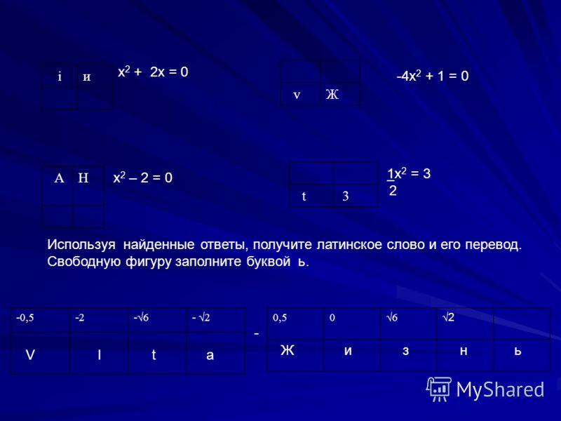 iи х 2 + 2х = 0 vЖ -4х 2 + 1 = 0 АН х 2 – 2 = 0 t 3 1х 2 = 3 2 Используя найденные ответы, получите латинское слово и его перевод. Свободную фигуру заполните буквой ь. -0,5-2-6-6 0,506 2 - V I t a Ж и з н ь