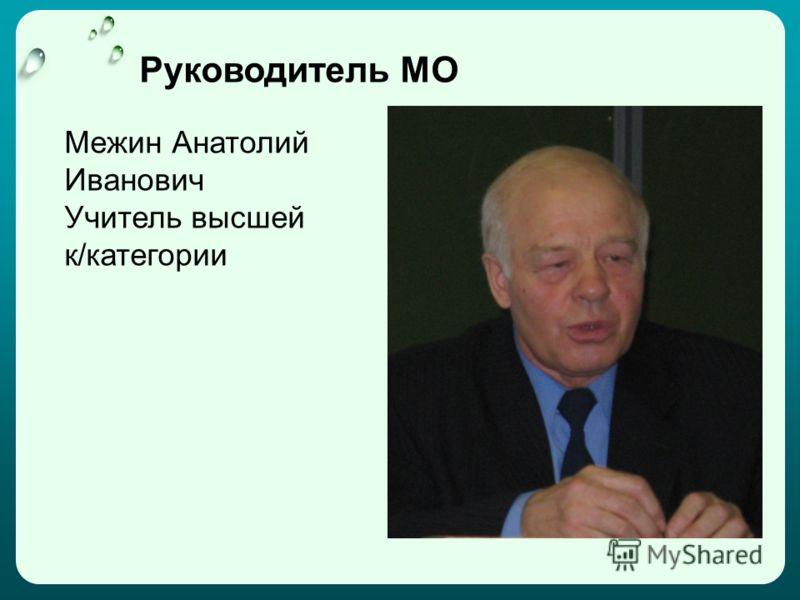 Руководитель МО Межин Анатолий Иванович Учитель высшей к/категории