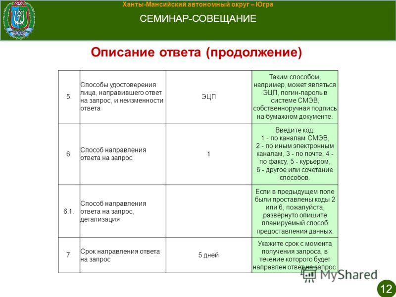 Ханты-Мансийский автономный округ – Югра СЕМИНАР-СОВЕЩАНИЕ 12 Описание ответа (продолжение) 5. Способы удостоверения лица, направившего ответ на запрос, и неизменности ответа ЭЦП Таким способом, например, может являться ЭЦП, логин-пароль в системе СМ