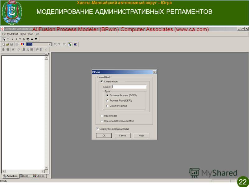 Ханты-Мансийский автономный округ – Югра МОДЕЛИРОВАНИЕ АДМИНИСТРАТИВНЫХ РЕГЛАМЕНТОВ 22 AllFusion Process Modeler (BPwin) Computer Associates (www.ca.com)