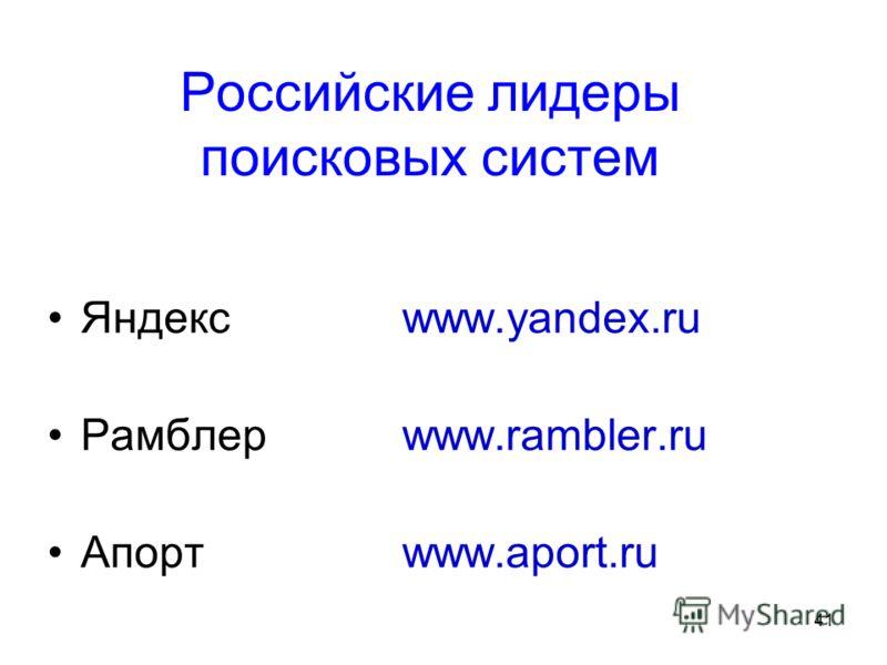 41 Российские лидеры поисковых систем Яндекс www.yandex.ru Рамблер www.rambler.ru Апортwww.aport.ru