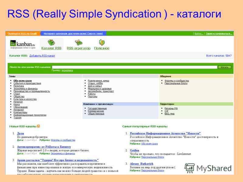 78 RSS (Really Simple Syndication ) - каталоги