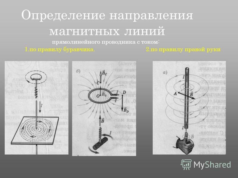 Определение направления магнитных линий 1.по правилу буравчика.2.по правилу правой руки прямолинейного проводника с током: