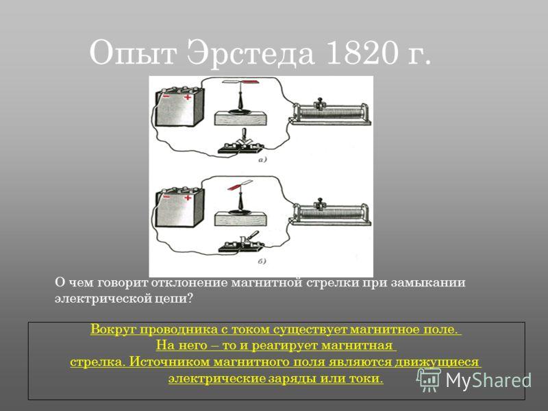 Опыт Эрстеда 1820 г. О чем говорит отклонение магнитной стрелки при замыкании электрической цепи? Вокруг проводника с током существует магнитное поле. На него – то и реагирует магнитная стрелка. Источником магнитного поля являются движущиеся электрич