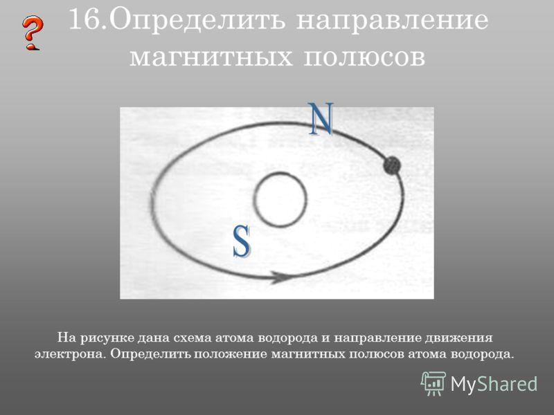 16.Определить направление магнитных полюсов На рисунке дана схема атома водорода и направление движения электрона. Определить положение магнитных полюсов атома водорода.