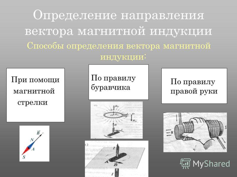 Определение направления вектора магнитной индукции Способы определения вектора магнитной индукции: При помощи магнитной стрелки По правилу буравчика По правилу правой руки