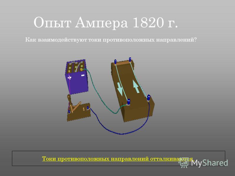 Опыт Ампера 1820 г. Как взаимодействуют токи противоположных направлений? Токи противоположных направлений отталкиваются.