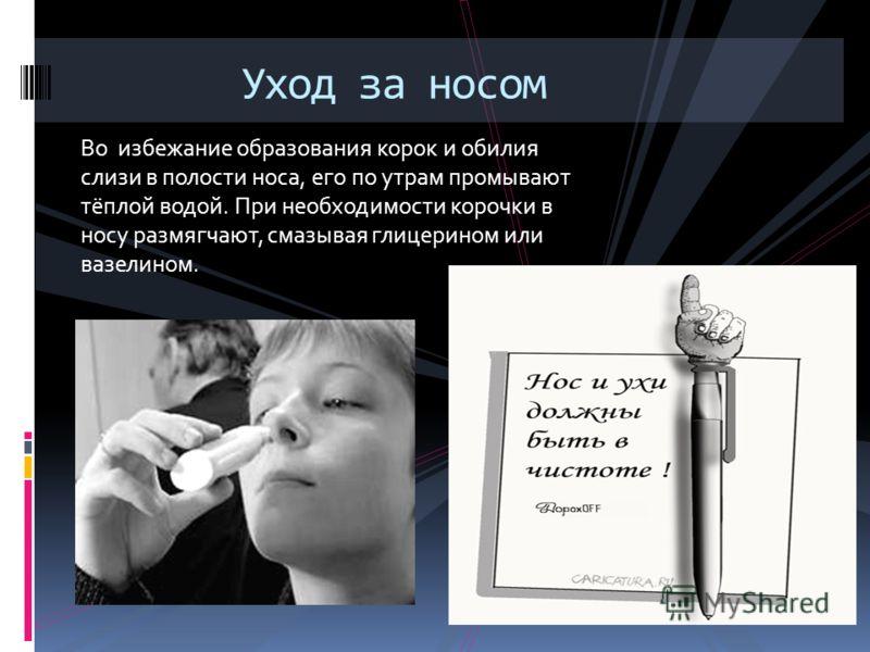 Во избежание образования корок и обилия слизи в полости носа, его по утрам промывают тёплой водой. При необходимости корочки в носу размягчают, смазывая глицерином или вазелином. Уход за носом