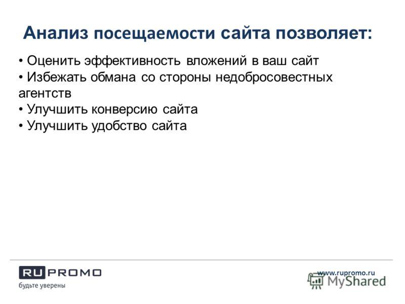 Анализ посещаемости сайта позволяет: www.rupromo.ru Оценить эффективность вложений в ваш сайт Избежать обмана со стороны недобросовестных агентств Улучшить конверсию сайта Улучшить удобство сайта