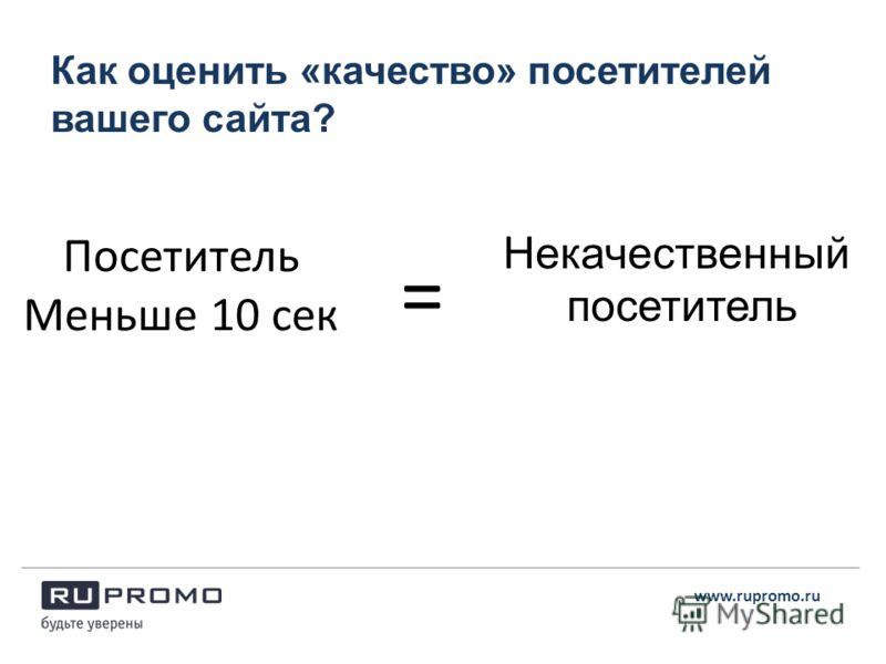 Как оценить «качество» посетителей вашего сайта? www.rupromo.ru Посетитель Меньше 10 сек Некачественный посетитель =