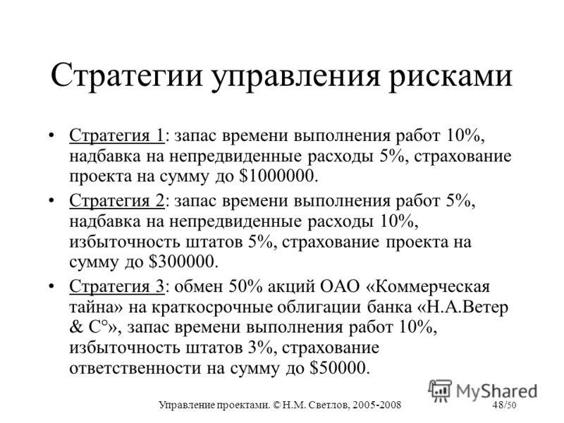 Управление проектами. © Н.М. Светлов, 2005-200848/ 50 Стратегии управления рисками Стратегия 1: запас времени выполнения работ 10%, надбавка на непредвиденные расходы 5%, страхование проекта на сумму до $1000000. Стратегия 2: запас времени выполнения
