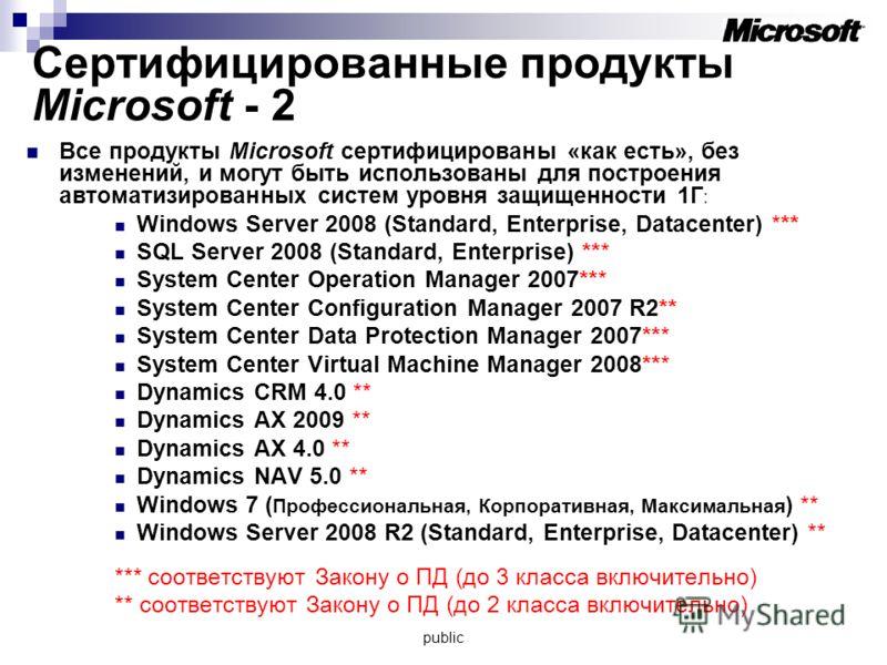 Сертифицированные продукты Microsoft - 2 Все продукты Microsoft сертифицированы «как есть», без изменений, и могут быть использованы для построения автоматизированных систем уровня защищенности 1Г : Windows Server 2008 (Standard, Enterprise, Datacent
