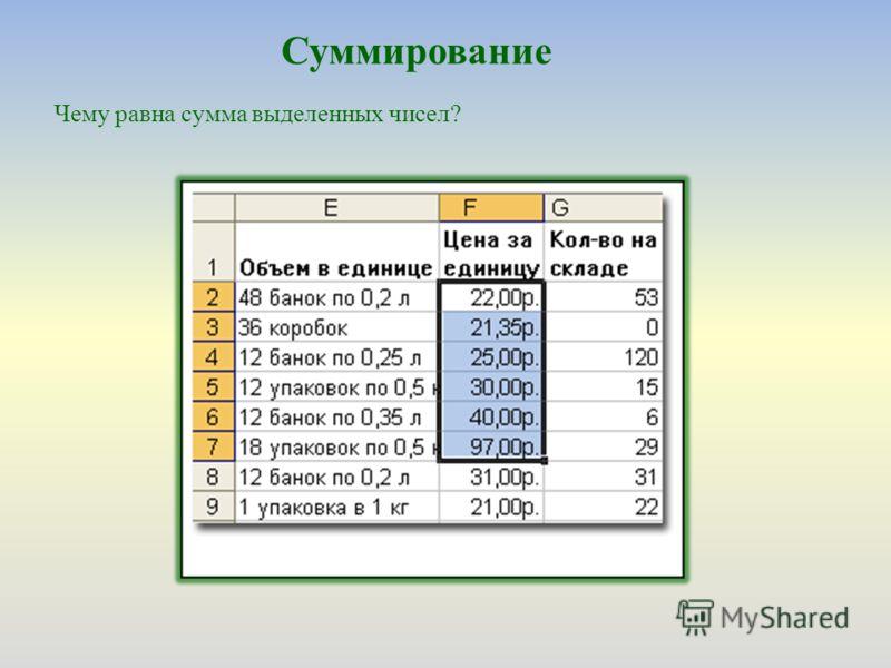 Суммирование Чему равна сумма выделенных чисел?